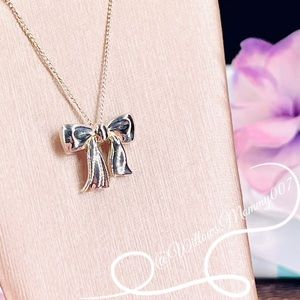 ✨Rare✨ Tiffany & Co. Ribbon Bow Vintage Pendant Necklace in Sterling Silver